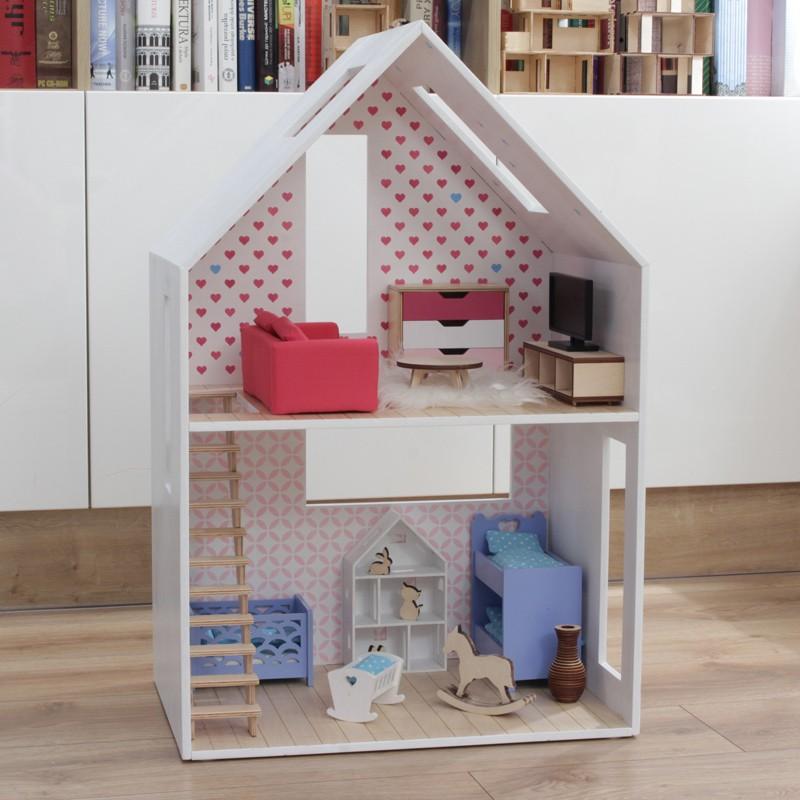 Inteligentny Mały domek dla lalek ze spadzistym dachem GO23