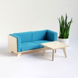 A plywood couch
